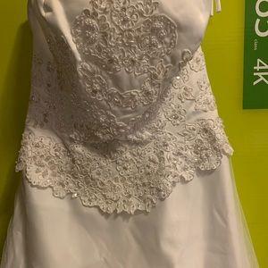 White Spaghetti strap wedding gown